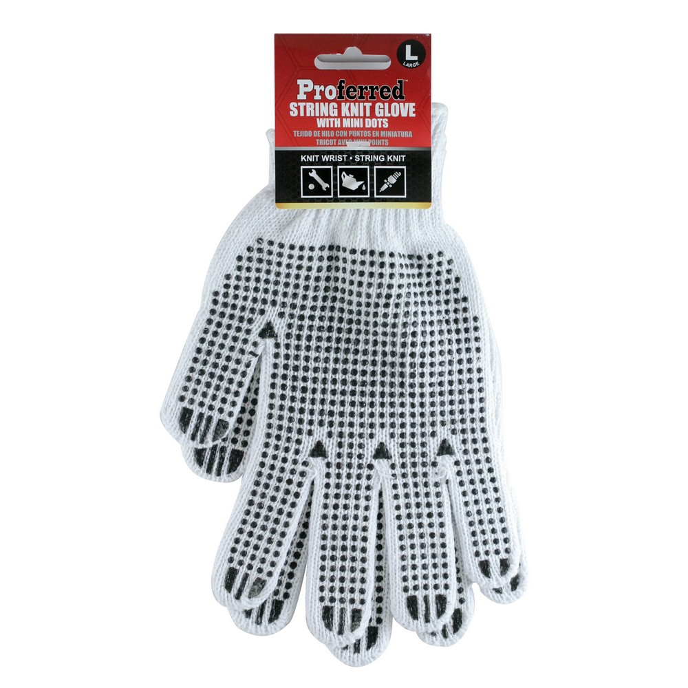Knitted Industrial Gloves with PVC Dots (L) -M05128 ( 3 Pieces )