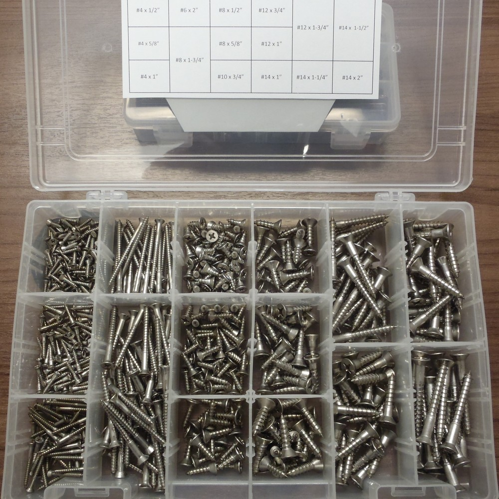 18-8 SS Wood Screw Kit - PF WOOD SCREW ASST SS