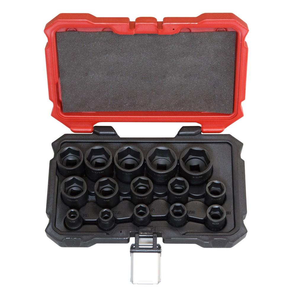 "1/2"" Drive SAE 6pt. 15 Piece Standard Impact Socket Set -S11001"